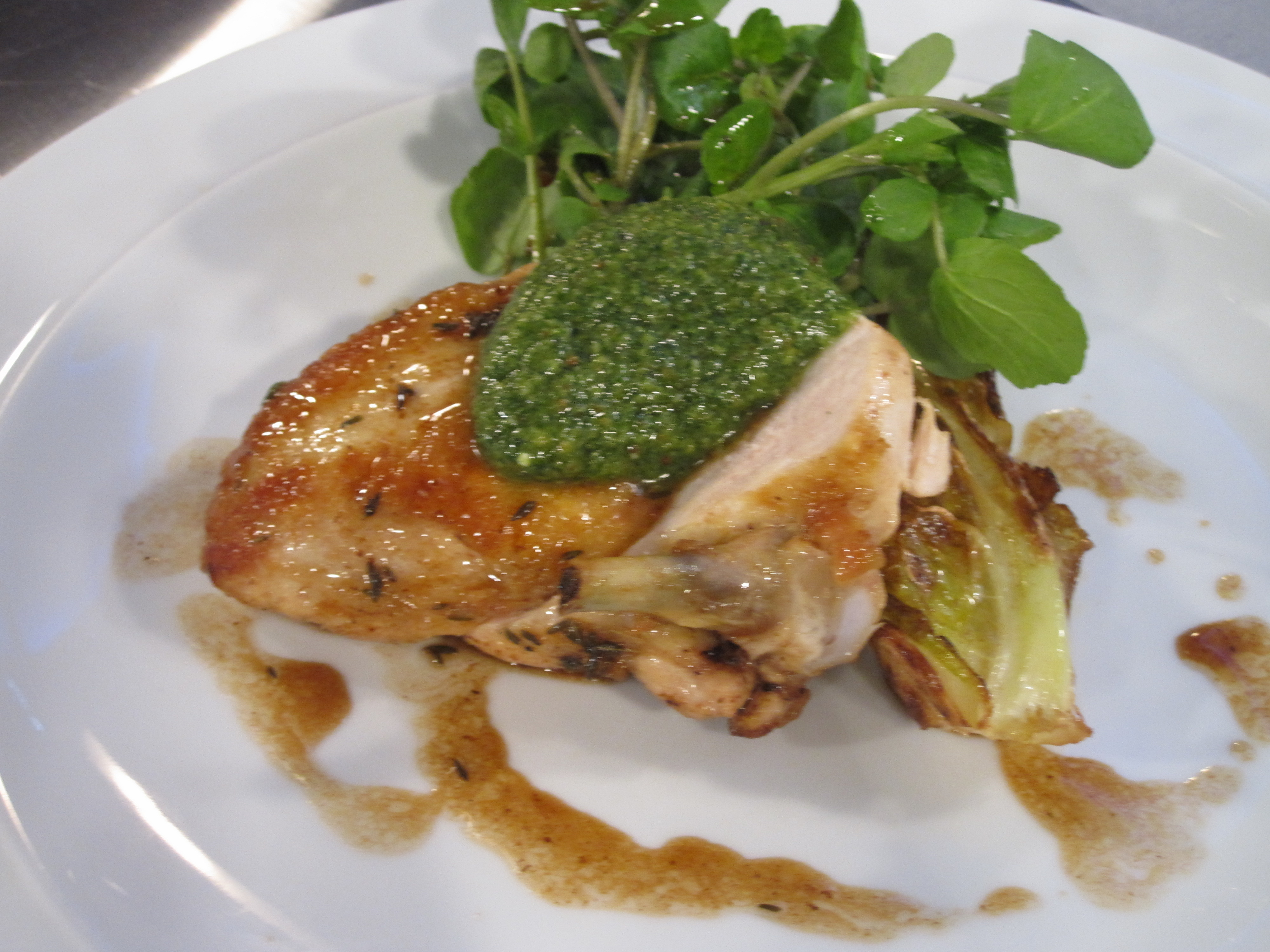 Roast chicken with watercress pesto good food channel roast chicken with watercress pesto forumfinder Images